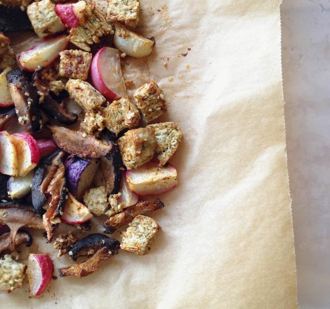 Creamy Shiitake Ramen // Harissa Roasted Hemp Tofu + Radish